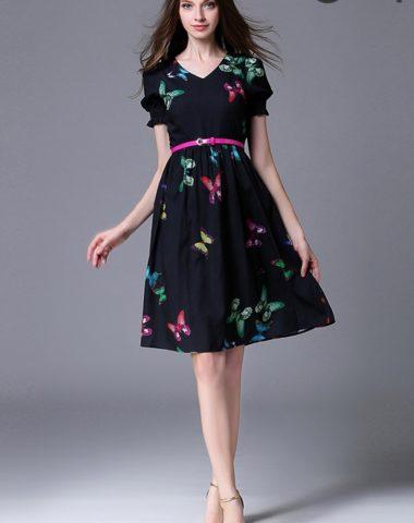 YV052 Váy Voan Bướm Xòe Cổ Tim