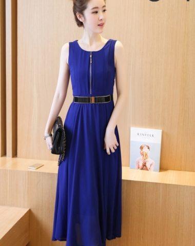 YV024 Váy Liền Voan Dài Sát Nách Kéo Khóa Ngực (Kèm Đai)
