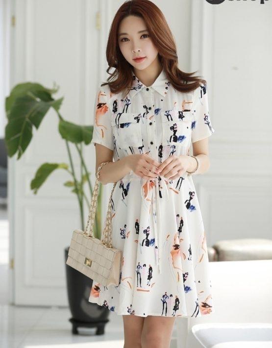 YV010 Váy Voan Xốp Cổ Sơ Mi Bẻ Thắt Dây Eo