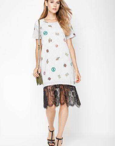 D06006 Đầm suông sọc in họa tiết phối ren chân váy