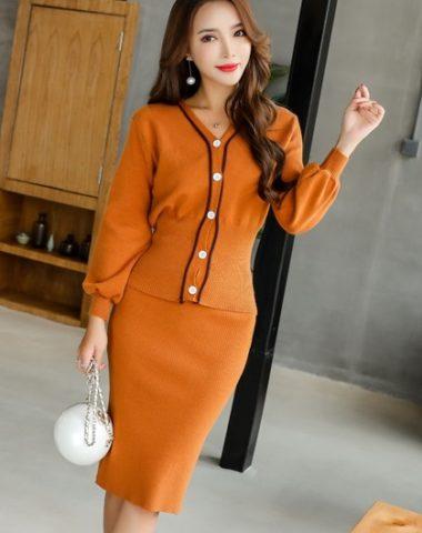 AV71 Set bộ đầm len dệt kim Hàn Quốc áo cài nút cao cấp