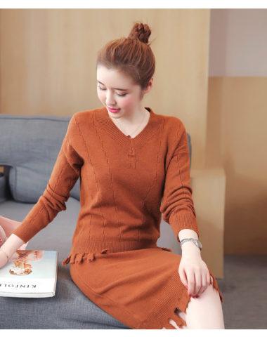 AV61 Set bộ váy len dệt kim phối tua