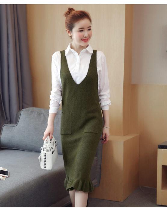 AV59 Set bộ đầm gilê suông dệt kim + áo sơ mi trắng cổ bẻ