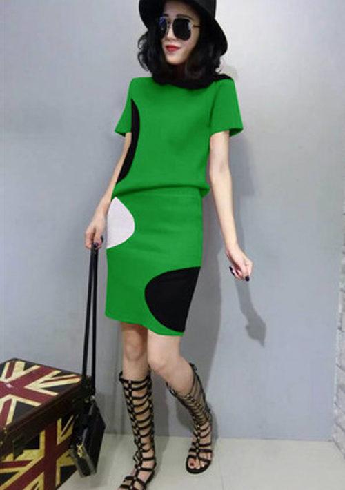YV082 Set bộ váy len dệt kim đốm tròn