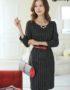 YT347 Váy Công Sở Sọc Kẻ Tay Lửng Thắt Eo
