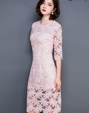 YV003 Váy Ren Hoa To Tay Lửng Thân Dài