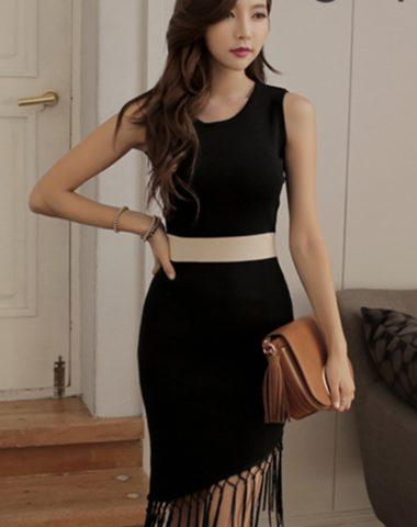 YV063 Váy Dệt Kim Tua Chân Váy Chéo