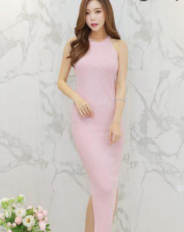 YV062 Váy Dệt Kim Ôm Dài Cổ Yếm