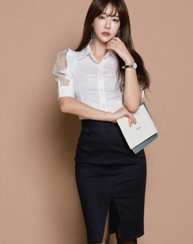 D1820 : Set bộ công sở Hàn Quốc áo tay phồng + Chân váy xẻ trước