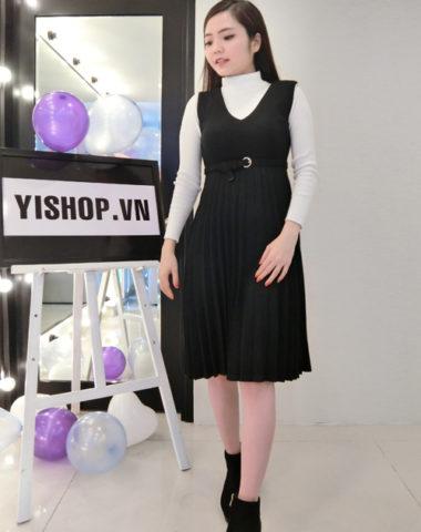 YB1101 Set bộ váy yếm xếp ly xòe + áo len dệt kim cổ lọ