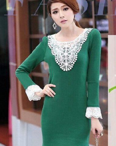 T454 Váy Thun Cotton Phối Cổ Ren Trắng Lót Lông Trong