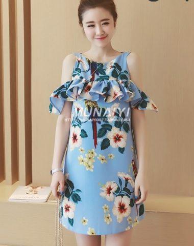 YV022 Váy Hoa Suông Rớt Vai Bèo Ngang