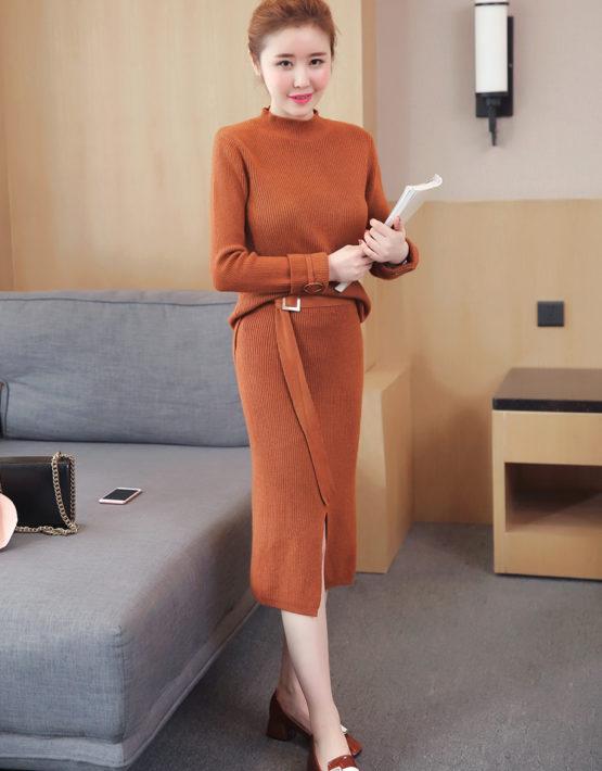 AV62 Set bộ váy len dệt kim thắt đai
