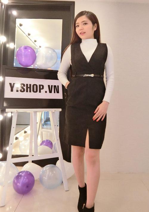 YB1104 Set bộ váy dạ sát nách cổ tim + áo len cổ lọ