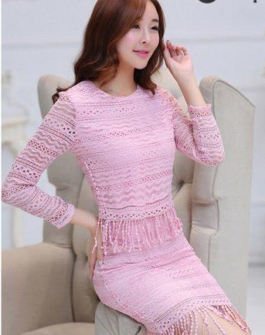 YT458 Set Bộ Váy Ren Tua Dài Tay