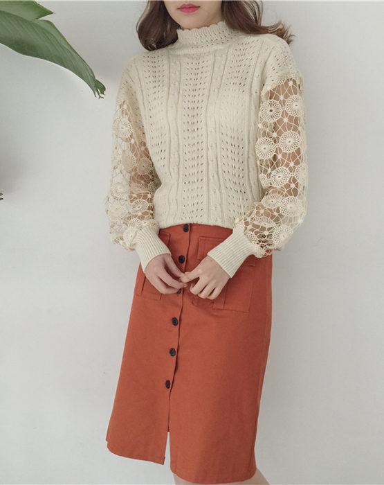 AY89 Áo len dệt kim phối tay ren hoa to