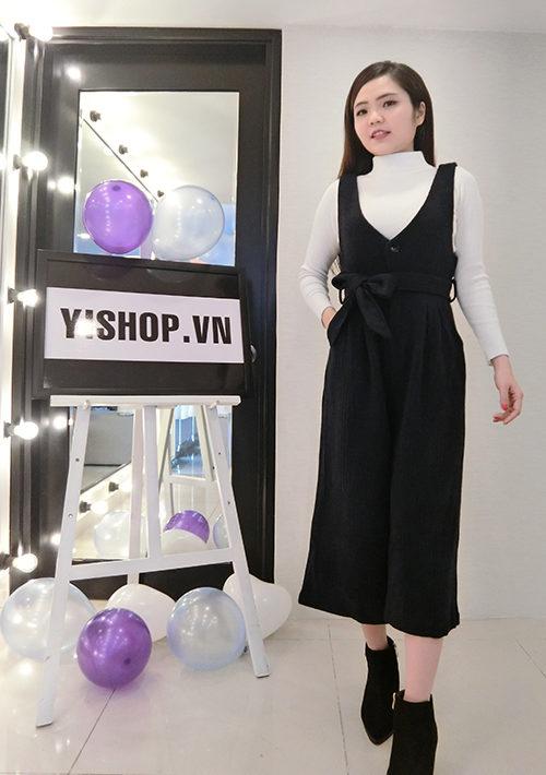 YB1103 Set bộ Quần dạ yếm ống suông + áo len cổ lọ