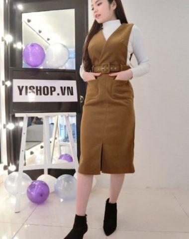 YB1102 Set bộ váy dạ dày yếm + áo len dệt kim cổ lọ