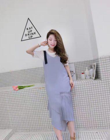 AV43 Set bộ đầm yếm suông + áo thun Hàn Quốc