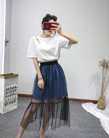 D1814 : Set bộ áo thun hở vai Hàn Quốc + Chân váy denim phối ren