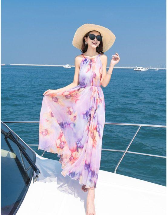 D1821 : Đầm bohemian voan hoa cổ yếm đi biển thắt dây eo