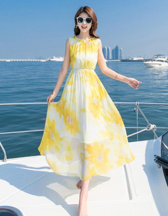 D1820 : Đầm maxi voan hoa đi biển sát nách