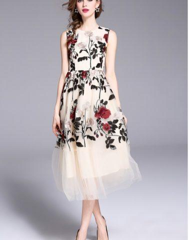 D1824 : Đầm xòe chữ A thêu hoa hồng HK cao cấp dự tiệc