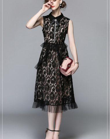 D1826 : Đầm ren HK cao cấp cổ bẻ đính nơ thanh lịch