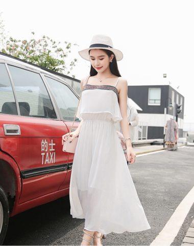 D1846 : Đầm voan bèo hai dây hở vai Hàn Quốc xinh đẹp