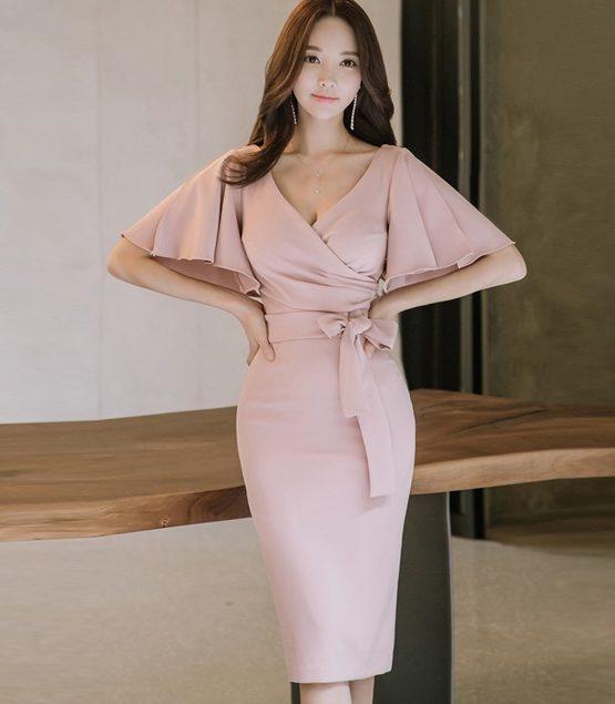 D1850 : Đầm ôm Hàn Quốc cổ chữ V tay cánh tiên thắt nơ eo quyến rũ