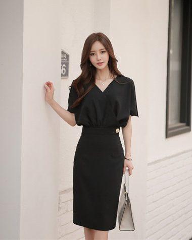 D1860 : Đầm công sở Hàn Quốc áo cổ chữ V xẻ tay