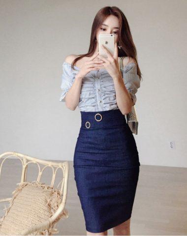 D1866 : Set bộ chân váy bút chì denim + áo xếp ly hở vai Hàn Quốc