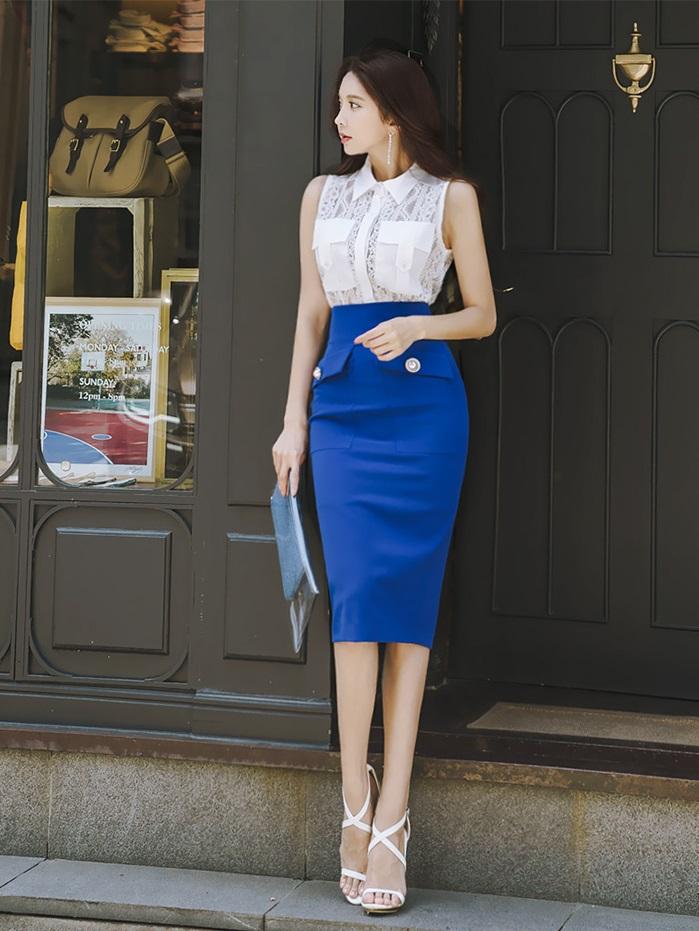 Đầm liền dáng xòe họa tiết hay chân váy màu sắc nơi công sở - 5