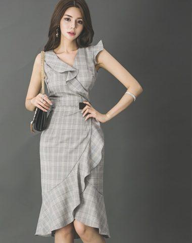 D1864 : Đầm ôm sọc kẻ viền bèo lệch đuôi cá Hàn Quốc