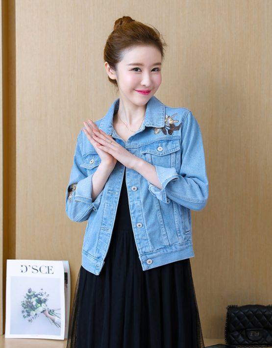 K1810 : Áo khoác Jean HQ thêu hoa mẫu mùa thu mới 2018