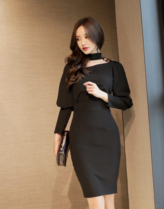 D1873 : Đầm Hàn Quốc ôm eo tay dài phồng trên sang chảnh