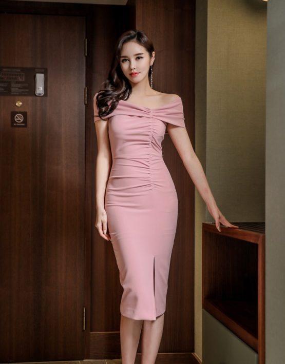 D1874 : Đầm ống ôm Hàn Quốc xẻ chân váy cổ hở lệch vai quyến rũ