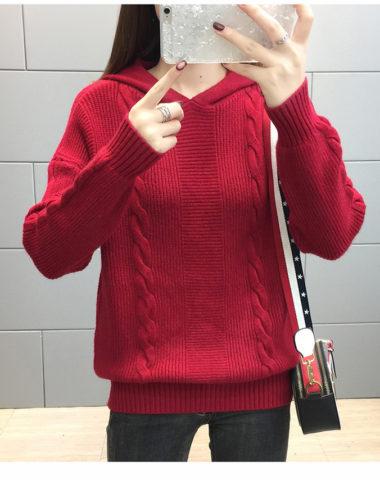 AL1807 : Áo len dệt kim có mũ sau