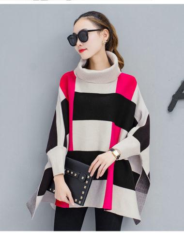 AL911 : Áo choàng len suông rộng cổ lọ gập phối sọc ô vuông 3 màu