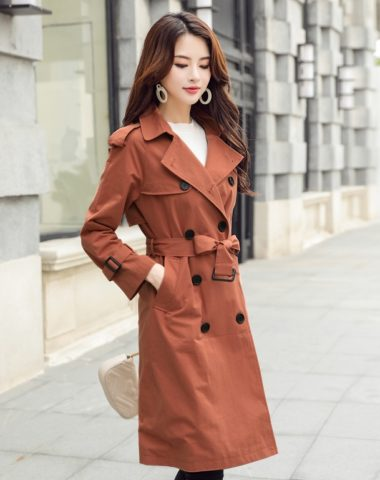 K1815 : Áo khoác kaki cổ vest Hàn quốc 2 hàng nút thắt đai eo