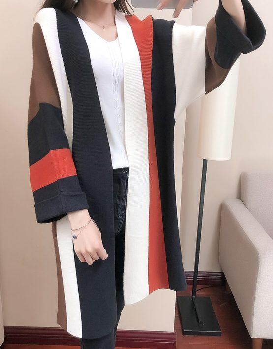 K1817 : Áo khoác len thân dài phối màu tay rộng HQ