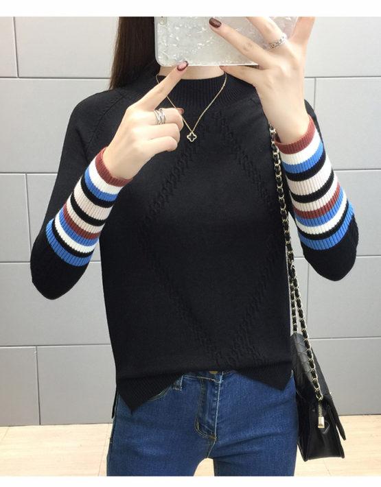 AL1808 : Áo len dệt kim cổ cao 3 phân phối ống tay sọc kẻ
