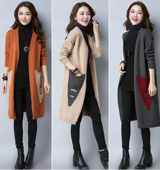 K1836 : Áo khoác len dệt kim thân dài cardigan HQ 2 túi chéo