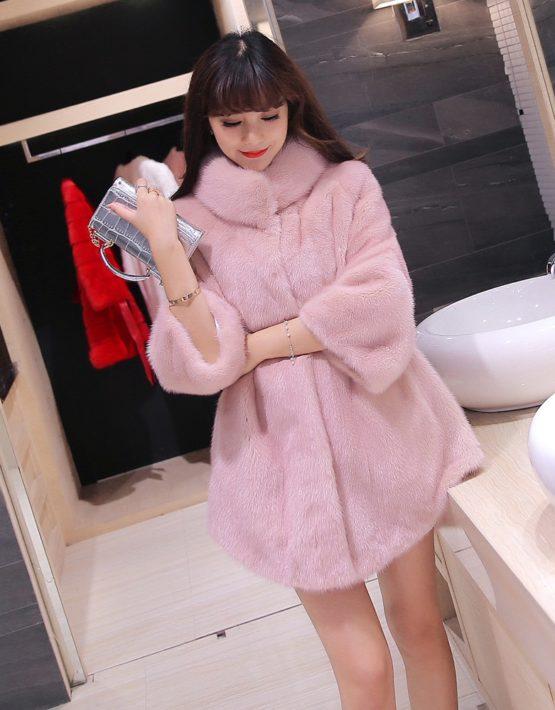 K1837 : Áo khoác lông thỏ dáng xòe cổ bẻ ấm áp dễ thương