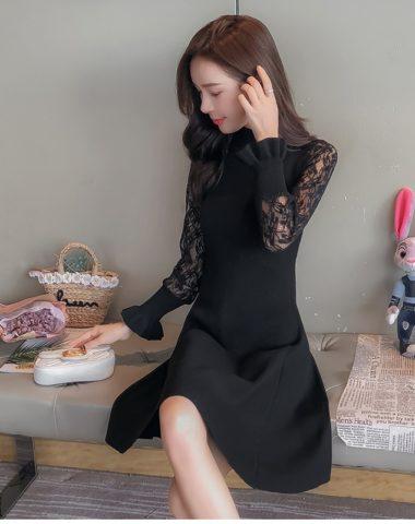 DL1806 : Đầm len dệt kim HQ xòe cổ 3 phân phối tay ren
