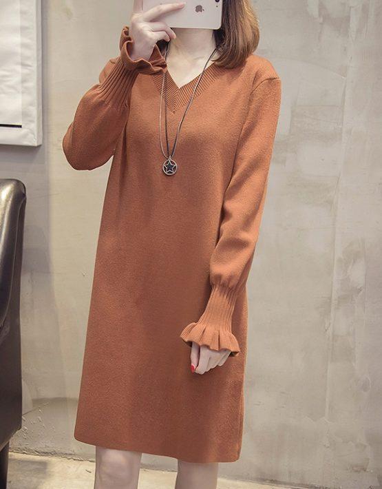 DL1816 : Đầm len dệt kim dày dáng suông cổ chữ V bèo cổ tay áo