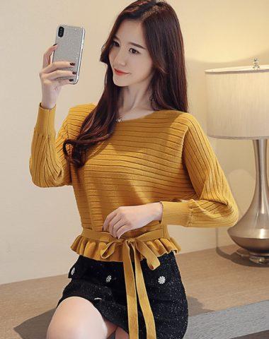 AL1802 : Áo len dệt kim thân lửng xòe thắt dây eo dễ thương