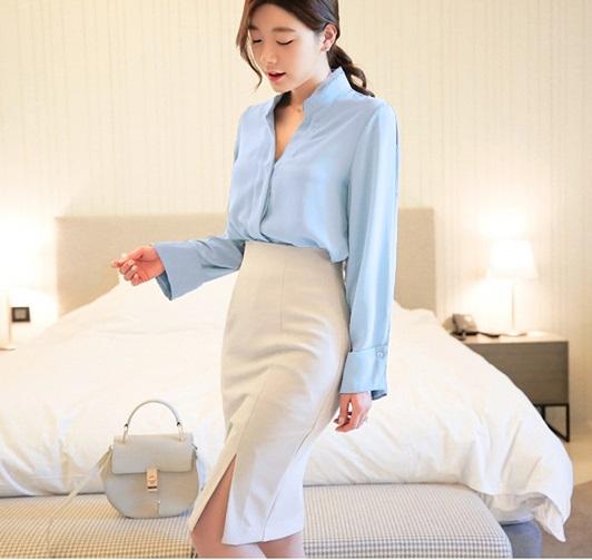 D1875 : Set bộ áo sơ mi + chân váy bút chì xẻ đùi Hàn Quốc