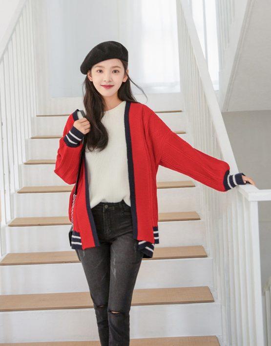 K1820 : Áo khoác len thân dài HQ phối viền màu vạt và tay áo