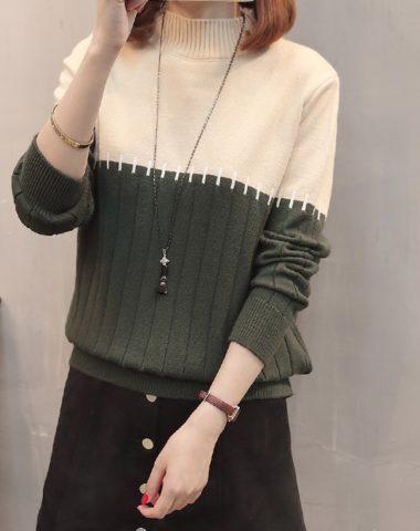 AL1813 : Áo len dệt kim cổ cao phối 2 màu